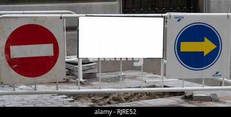 blank billboard mock up in the street with street signal advertising display - Stock Photo