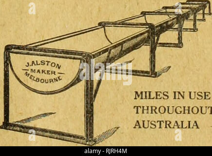 . Australian Garden and Field. . MILES IN USE THROUGHOUT AUSTRALIA The Best Trough ever invented. The fact that other manufacturers are copy- ing the Alston Patent as far as they dare, is sufficient guarantee as to the construction and stability of this Trough. Large stocks. Immediate delivery. James Alston Patentee and Manufacturer Queen's Bridge SOUTH MELBOURNE Sol* Agaata lor a«uUi AuMraUft— H. C. RICHARDS 6 and«, Blyth StrMt, AdaUida. date OiiiMM utd Co.. Please note that these images are extracted from scanned page images that may have been digitally enhanced for readability - coloration  - Stock Photo