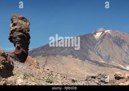 Tenerife, Canary Islands, Spain - volcano Teide National Park, UNESCO World Heritage Site. Roques de Garcia and Mount Teide - famous Finger of God roc - Stock Photo
