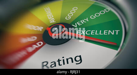 Rating, customer feedback concept. Car speedometer, excellent rating close up. 3d illustration - Stock Photo