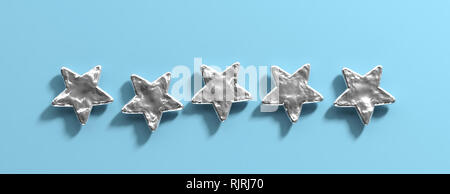 5 stars ranking, customer feedback concept. Five silver stars isolated on blue pastel background, banner. 3d illustration - Stock Photo