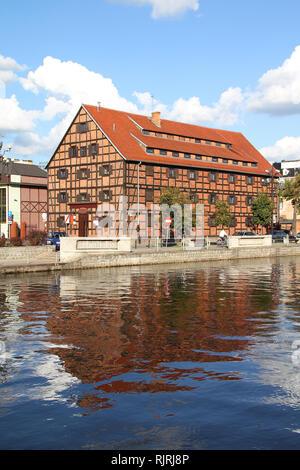 Poland - Bydgoszcz, city in Kuyavia (Kujawy) region. Old town view with Brda river. - Stock Photo