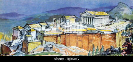 Illustration from a children's encyclopaedia, depicting ancient Athens with the Acropolis. circa 1947. Pericles (c. 495 - 429 BC) in the fifth century BC who coordinated the construction of the site's most important present remains including the Parthenon, the Propylaea, the Erechtheion and the Temple of Athena Nike - Stock Photo