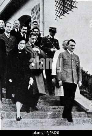 The Duke and Duchess of Windsor meet Hitler in October of 1937. The Duke of Windsor had been King Edward VIII of Great Britain till his abdication the previous year - Stock Photo