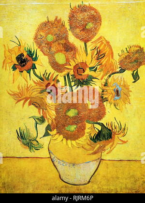 Sunflowers (F458), repetition of the 4th version (yellow background); Oil on canvas, Van Gogh Museum, Amsterdam, Netherlands; 1888; by the Dutch artist Vincent van Gogh (1853-1890). - Stock Photo