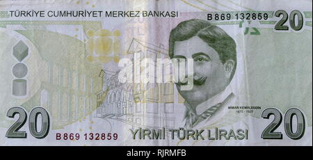 20 Lira Turkish banknote depicting, Ahmet Kemalettin or Kemaleddin (1870-1927), Turkish architect of the very late period of the Ottoman architecture and the early years of the newly established Republic - Stock Photo