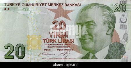 20 Lira Turkish banknote depicting, Kemal Ataturk first President of Turkey - Stock Photo