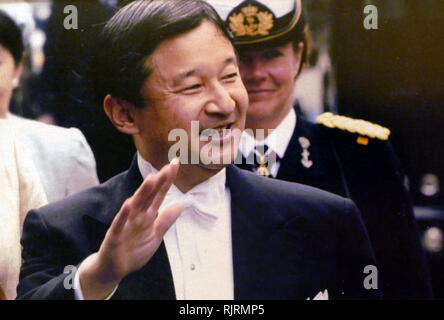Naruhito, Crown Prince of Japan (born 1960), elder son of Emperor Akihito and Empress Michiko, which makes him the heir apparent to the Chrysanthemum Throne. Naruhito is expected to succeed his father as Emperor upon the latter's abdication on 30 April 2019. - Stock Photo