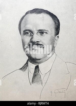 Drawing of Vyacheslav Mikhailovich Molotov (1890 - 1986); Soviet politician and diplomat, and a leading figure in the Soviet government from the 1920s. He rose to power as a protege of Joseph Stalin. Molotov served as Chairman of the Council of People's Commissars (Premier) from 1930 to 1941, and as Minister of Foreign Affairs from 1939 to 1949 and from 1953 to 1956. He served as First Deputy Premier from 1942 to 1957, when he was dismissed from the Presidium of the Central Committee by Nikita Khrushchev - Stock Photo