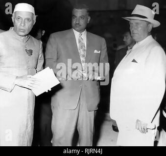 Nehru, Nasser and Tito meet to sign the establishment of the Non-Aligned Movement. 1956. The Non-Aligned Movement, founded on the Brijuni islands in Yugoslavia in 1956, and was formalized by signing the Declaration of Brijuni on July 19th, 1956. The Declaration was signed by Yugoslavia's president, Josip Broz Tito, India's first prime minister Jawaharlal Nehru and Egypt's second president, Gamal Abdel Nasser. - Stock Photo