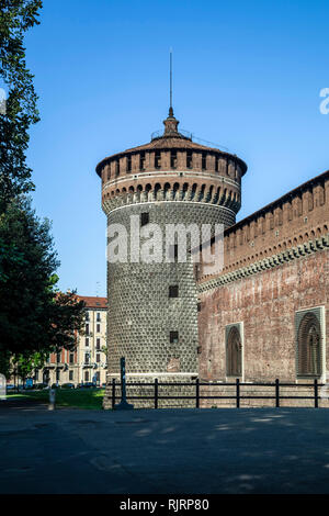 Tower, Sforza Castle, Milan, Italy - Stock Photo