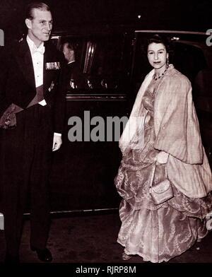 Queen Elizabeth II and the Duke of Edinburgh arriving at the Albert Hall, London. 1953. - Stock Photo
