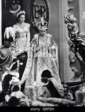 Queen Elizabeth II during her coronation. 1953 - Stock Photo