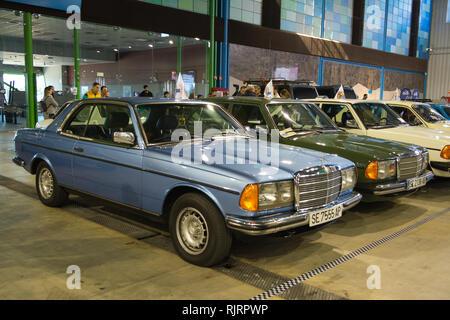 Mercedes-Benz 230 CE (C123). Retro Málaga 2019. Spain. - Stock Photo