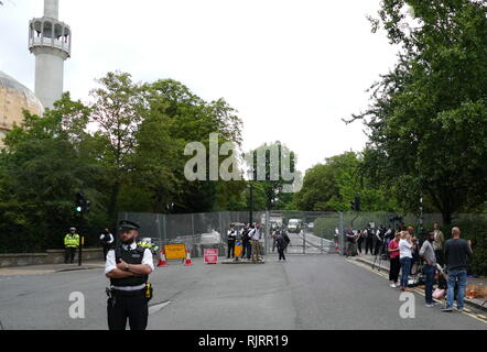 Security to Protect President Trump, around the American Ambassador's Residence in London, for the visit to the United Kingdom by President of the United States Donald Trump; July 2018. - Stock Photo