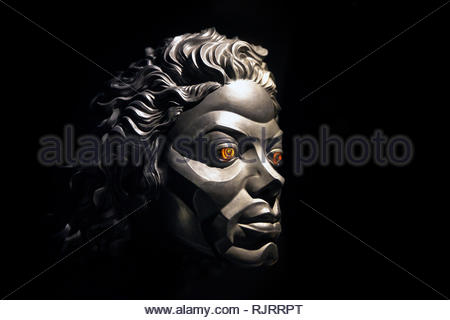 Michael Jackson's robotic face seen in Michael Jackson's Moonwalker, musical film (1988) directed by Jerry Kramer and Colin Chilvers - Stock Photo