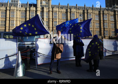 Westminster, London, UK, 7th Feb 2019. A man in suit takes time out from his day to hold up a EU flag for a while. up Pro and anti-Brexit protesters rally with flags and placards outside the Houses of Parliament and the Cabinet Office in Westminster today. Credit: Imageplotter News and Sports/Alamy Live News - Stock Photo