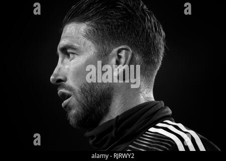 Spain La Copa, Semi finals, First Leg, FC Barcelona vs. Real Madrid, reporting live during the game -- Sergio Ramos - Stock Photo