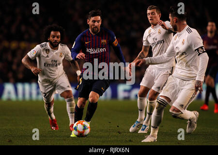 Spain La Copa, Semi finals, First Leg, FC Barcelona vs. Real Madrid, reporting live during the game - Stock Photo