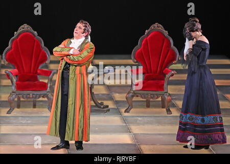 St Petersburg, Russia. 07th Feb, 2019. ST PETERSBURG, RUSSIA - FEBRUARY 7, 2019: Actor Alyona Vozhakina (R) as Nina and Pyotr Semak as Arbenin in a scene from Valery Fokin's production of Masquerade: Remembrance of the Future based on Russian writer Mikhail Lermontov's verse play Masquerade and Vsevolod Meyerhold's 1917 staging, at the Alexandrinsky Theatre. Peter Kovalev/TASS Credit: ITAR-TASS News Agency/Alamy Live News - Stock Photo
