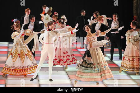 St Petersburg, Russia. 07th Feb, 2019. ST PETERSBURG, RUSSIA - FEBRUARY 7, 2019: A scene from Valery Fokin's production of Masquerade: Remembrance of the Future based on Russian writer Mikhail Lermontov's verse play Masquerade and Vsevolod Meyerhold's 1917 staging, at the Alexandrinsky Theatre. Peter Kovalev/TASS Credit: ITAR-TASS News Agency/Alamy Live News - Stock Photo