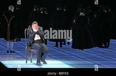 St Petersburg, Russia. 07th Feb, 2019. ST PETERSBURG, RUSSIA - FEBRUARY 7, 2019: Actor Pyotr Semak as Arbenin in a scene from Valery Fokin's production of Masquerade: Remembrance of the Future based on Russian writer Mikhail Lermontov's verse play Masquerade and Vsevolod Meyerhold's 1917 staging, at the Alexandrinsky Theatre. Peter Kovalev/TASS Credit: ITAR-TASS News Agency/Alamy Live News - Stock Photo