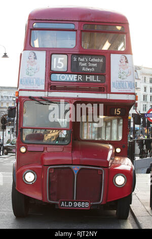 London, UK. 7th February 2019. Heritage Bus of Route 15, here near Trafalgar Square, London, will stop running as from the 2nd March 2019, after many years of service between Trafalgar Square and Tower Hill, stopping at world famous  landmarks such as Tower of London, Monument and St Pauls Cathedral. Credit: Joe Kuis / Alamy Live News - Stock Photo