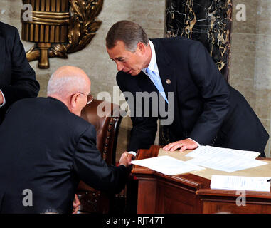 Washington, United States Of America. 04th Jan, 2011. United States House Speaker John Boehner (Republican of Ohio), right, shakes hands with U.S. Representative John Dingell (Democrat of Michigan), left, after Dingell swore-in Boehner at the opening of the 112th Congress in the U.S. Capitol in Washington, DC on Wednesday, January 5, 2011.Credit: Ron Sachs/CNP.(RESTRICTION: NO New York or New Jersey Newspapers or newspapers within a 75 mile radius of New York City) | usage worldwide Credit: dpa/Alamy Live News - Stock Photo