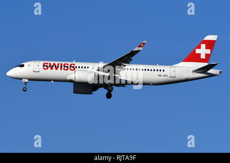 AIRBUS A220-300 (CS300) HB-JCH OF SWISS INTERNATIONAL AIRLINES - Stock Photo