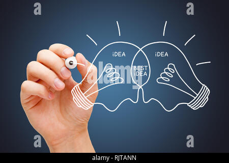 Hand drawing Best Idea light bulbs concept with white marker. Teamwork collaboration makes the best ideas.