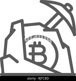 Pickaxe with stone bitcoin, blockchain, cryptocurrency line icon. - Stock Photo
