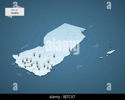 Isometric 3D Yemen map,  vector illustration with cities, borders, capital, administrative divisions and pointer marks; gradient blue background.  Con - Stock Photo