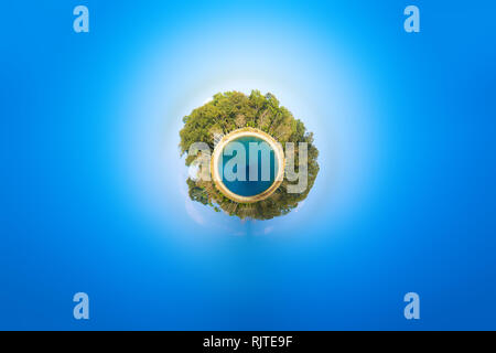 Tiny Planet Panorama 360 Degree Landscape Trees, Sea and Sky Photo - Stock Photo
