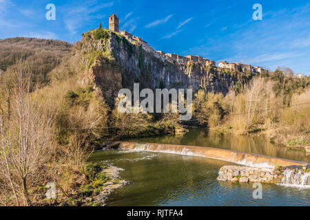 View of the most beautiful village in Catalonia, Spain (Castellfollit de la Roca). - Stock Photo
