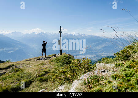 Looking out over the Rhone valley in Switzerland - Stock Photo