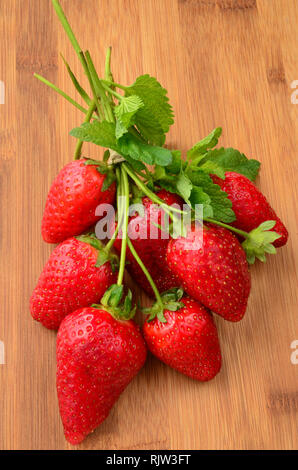 Bundle of cultivated strawberries with long stems and lemon balm leaves on a dark bamboo wooden background - Stock Photo