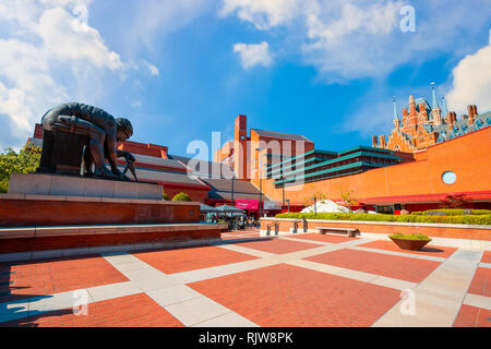 London, UK - May 18 2018: The British Library is the UK's national library and the largest national library in the world by number of items catalogued - Stock Photo