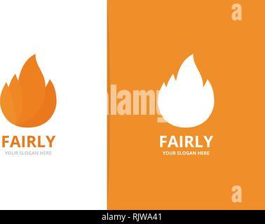 Fire logo combination. Unique torch logotype design template. - Stock Photo