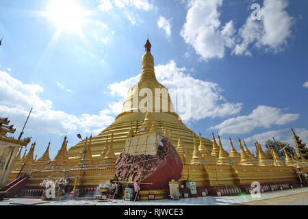 Bago, Myanmar,Feb 2,2018, Take photo the Shwemawdaw Pagoda ,the tallest pagoda in Myanmar, referred to as the Golden God Temple - Stock Photo