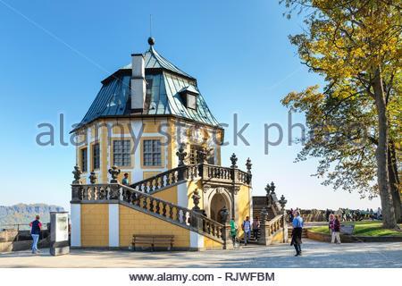 Friedrichsburg, Baroque Hall of Mirrors, Königstein Fortress, Saxon Switzerland, Saxony, Germany - Stock Photo
