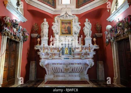 Altar, pilgrimage church on the island Our Lady of the Rocks, Gospa od Skrpjela, Bay of Kotor, Kotor Province, Montenegro - Stock Photo