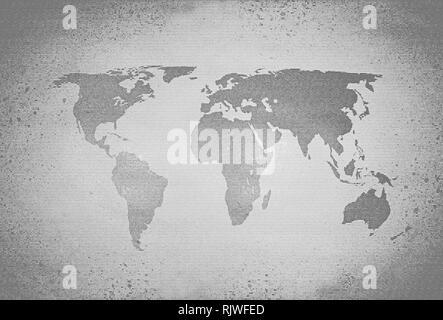 Retro black and white halftone world map - Stock Photo