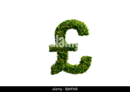 Topiary Tree in the Shape of the British Pound Symbol - Stock Photo