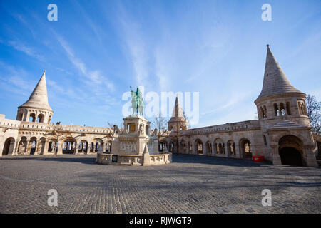 BUDAPEST / HUNGARY - FEBRUARY 02, 2012: View of historical landmark Szent István szobra monumente located in the capitol of the country, in Fisherman' - Stock Photo