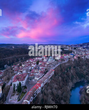 Drone aerial sunrise view on Veliko Tarnovo. Cityscape from hill Tsarevets. - Image - Stock Photo