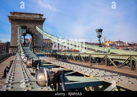 BUDAPEST / HUNGARY, FEBRUARY 02, 2012: Szechenyi Chain Bridge detail - Stock Photo
