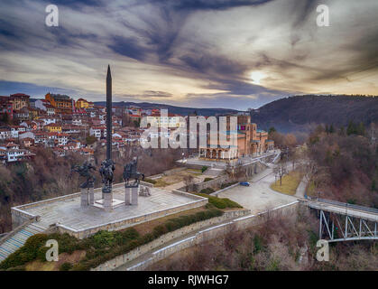 Aerial view of the Monument of the Assenevtci Kings in Veliko Tarnovo, Bulgaria, national heritage, the four Bulgarian Kings Stock Photo