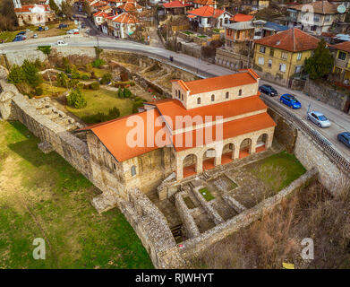 Aerial view of Medieval The Holy Forty Martyrs church - Eastern Orthodox church constructed in 1230 in the town of Veliko Tarnovo, Bulgaria - Stock Photo