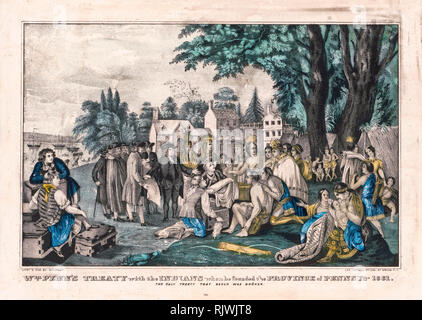 William Penn's treaty with the Indians when he founded the province of Pennsylvania in 1661, print 1835-1856 Stock Photo