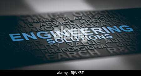 3D illustration of word cloud with focus on the text engineering solutions. Blue and black background. - Stock Photo